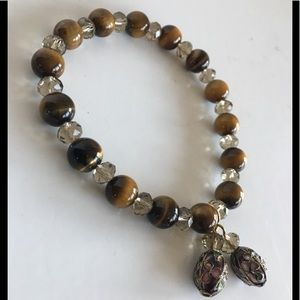 Jewelry - Tigereye Swaroviski  cloisonné stretch bracelet